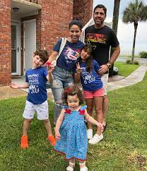 Angie Goff together with her husband and children